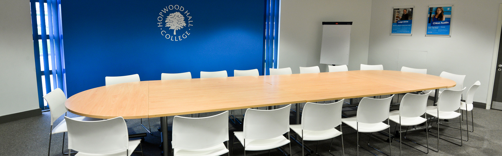 Conference Facilities Available At Hopwood Hall College - Blue conference table